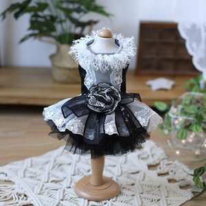 Free shipping handmade dog clothes dog dress classic black white lace rose party evening gown poodle Maltese yorkies drop shipping