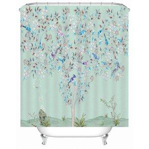 Fleur bleue et oiseaux rideau de douche Salle de bain d'impression 3D Rideaux étanche Mildiou avec des crochets Preuve