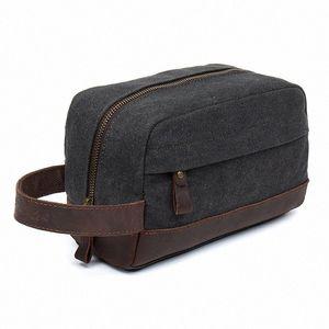 Toiletry Beauty Case Bag Leather Trim Canvas Shaving Dopp Case Neceser Travel Cosmetic Makeup Bag Organizer Pouch l2ww#