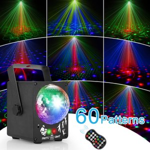 LED Disco Laser Stage Light RGB Party Lights 60 Patterns DJ Magic Ball Laser Projector Lamp Party Holiday Christmas Stage Lighting Effect