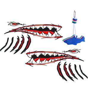 Pack 2 Wasserdichte Vinyl Haifisch-Zähne Mund-Aufkleber-Abziehbilder + EVA Schwimm Keyring für Wassersport Yachting Segeln