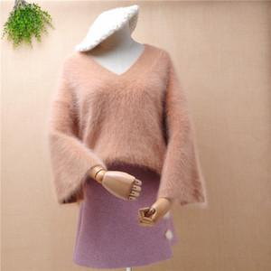 дамы моды женщин волосатого ангора мех вязаные семидневного Flare рукава v-образного вырез свитера норка кашемир зимы Перемычка свитер сверху