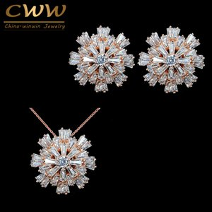 CWWZircons تصميم حية مجوهرات زهرة السيدات روز لون الذهب زركون معبد الأزياء والمجوهرات مجموعات للنساء T181
