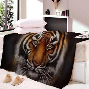 Tiger Lion 3D Printed Fleece Blanket Couch Quilt Cover Travel Bedding Outlet Velvet Plush Throw Fleece Blanket Bedspread