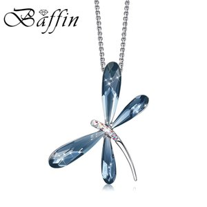 Cute Blue Pink Dragonfly Pendant Necklaces Crystals From Silver Color Chain Collars Fashion Jewelry For Girls Women