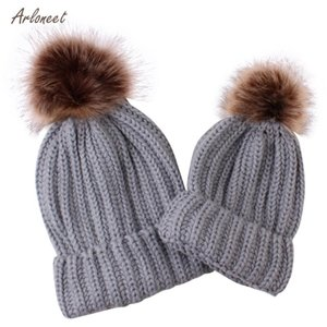 ARLONEET 2PCS Mom &Baby Knitting Keep Warm Hat Kids Baby Hats Knitted Wool Hemming Hat Fit for 0-7 Months Baby 2020