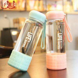 Simple et résistant à la bouteille tasse d'eau Portable frais chaleur 450ml Femme coréenne Fsile verre étudiant Creative mignon WfWmg wrhome