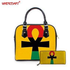 WHEREISART Afro American Pan African UNIA Flag Ankh borsetta e borsa delle signore stabilite del messaggero di Crossbody Borse a tracolla donne borsa