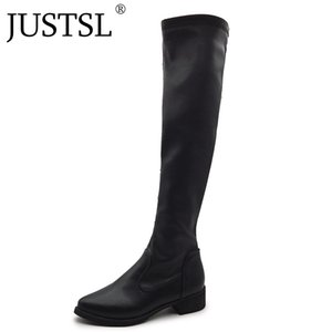 JUSTSL 2020 New Women's Fashion shoes Long tube ladies boots Pointed Toe Flat with knee-high female boot