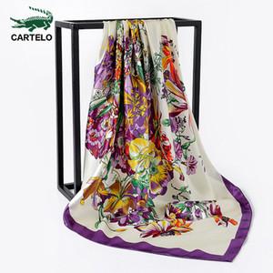 CARTELO nuevas señoras de la bufanda de tinta 2020 otoño y el nuevo salpicaduras gran bufanda cuadrada de invierno pintado las mujeres el modelo floral