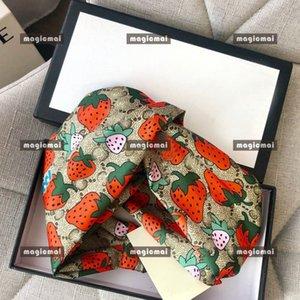 Designer donne seta fascia Brown fragola Logo morbida Hairband con la scatola ragazze compleanno idee regalo di Natale dei capelli Wrap Accessorio per capelli