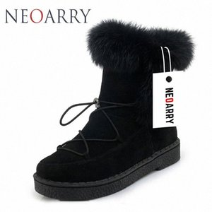 Neoarry invierno botas para mujer de la nieve botas de encaje de Calentamiento piel de la manera del tobillo de los botines de tacón bajo Rusia Calzado de las señoras del tamaño grande LT70 Nm1u #