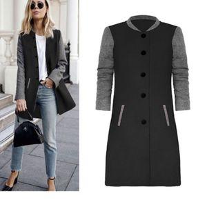 Frühling und Herbst neue heiße Hit Farbe Stitching langärmeligen Wollmantel Lange Temperament Pendler dünner Mantel Damenbekleidung