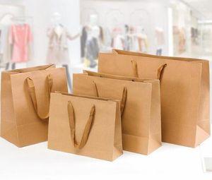 Craft kağıt hediye çantası kolu ile düğün parti çantası Noel taşınabilir ambalaj alışveriş torbaları yeni yıl arkadaşlar hediye çantaları