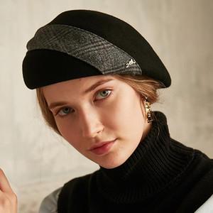 Sedancasesa 2020 Новая осень зима фетровых Шляпы для девочек Мода женщин Hat Берет Англия Painter Caps Black Red 56см