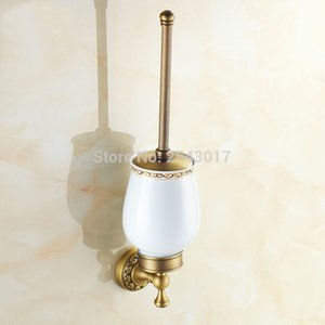 Luxury Antique Bronze Toilet Brush Holder Wall Mounted Bathroom Accessories Hardware Ceramic Cup with Cleaning Brusher ZR2403