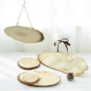 DIY Handbemalte Kiefer hängen Anhänger Holzhandwerkverzierungen Weihnachtsschmuck Holzschild Jahres Runde Wood Chips