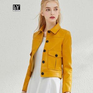 Ly Varey Lin femmes Pu Biker Faux cuir souple Veste col simple couverture Manteau Femme Rue cuir court Outwear