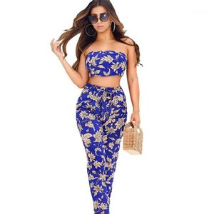Womens Summer 2Pcs Floral Printed Womens Designer Tracksuits Fashion Sexy Strapless Two Piece Pants Casual
