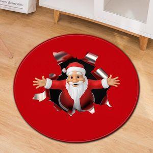 Nuovo Natale di festa Zerbino delle famiglie antiscivolo rotonda Mat Soggiorno Tavolino da letto moquette antiscivolo Bathroom Floor