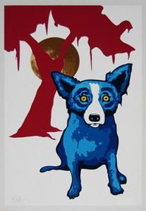Джордж Rodrigue голубой собаки Y Moon White / Pink Дерево Домашнее украшение картины маслом на холсте стены искусства Холст Картины для гостиной 200912