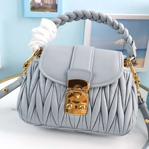 Women Messenger Bags Purse Top Quality Genuine Leather Bag Lambskin Woven Leather Portable Metal Lock Detachable Adjustable Shoulder Strap