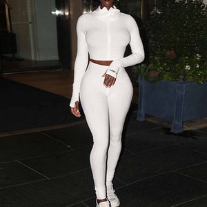 Sexy Two Piece Set Women Zipper Crop Top Knitted Bodycon Long Sleeve Push Up Slim Skinny Tracksuit Women High Waist Jumpsuit