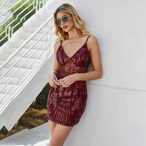 Red Casual Ladies Clothing Sequins Sexy Skinny Womens Dresses Spaghetti Strap Open Back Women Dress Summer Wind