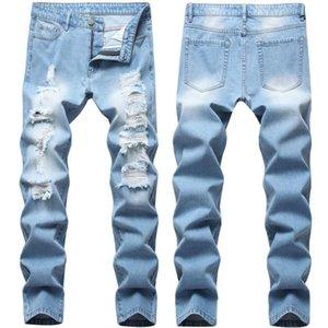 Agujeros de lavar los pantalones vaqueros para hombre Moda Jeans Motorbiker Light Blue Denim pantalones vaqueros de la cremallera