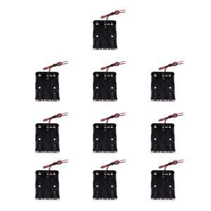 10Piece plástico batería AA Casos apoyo del almacenamiento de la cubierta protectora de la caja Negro
