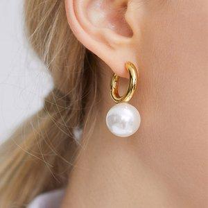 Minimalista geometrica barocco colore bianco perla orecchini a cerchio per le donne d'avanguardia moderna Oro Colore Annulus metallo orecchini