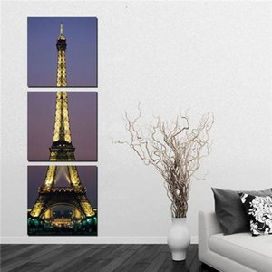 3 Panel Realist Paris Eiffel Tower Painting Decoration Picture City Night Landscape Canvas Prints For Living Room Corner Of Wall