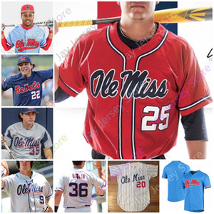 Ole Miss jersey de béisbol de la universidad Tyler Keenan Servideo Anthony Tim Elko Peyton Chatagnier Lance Lynn Rolison Cozart Dunhurst panadero Cioffi