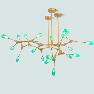 2020 araña de Nordic salón comedor molécula de cristal verde conducido luces moderno hierro rama de simple arte de cristal verde lámparas pendientes