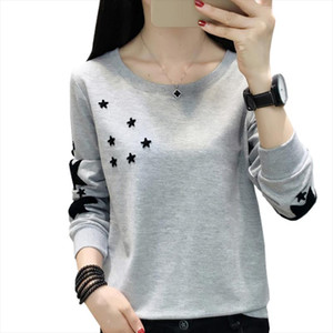 Hoodie Womens 2020 Autumn Korean Embroidered Stars Fashion Women Sweatshirt Plus Size O Neck Blouse Long Sleeve Pullover Clothes