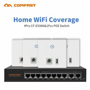 DHL Free Home Hotel Wifi Cover Solution 4pcs RJ45 WAN LAN usb Wall AP + 1 8 Port Poe Switch Access Point networking solution PvDi#