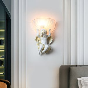 European Style Wall Light Creativity Resin Wall Lamps For Bedside Angel Lamp Vintage Wandlamp LED Indoor Light Fixture