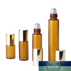 Leeren 2,5 ml 3 ml 5ml 10ml Bernstein Glasduftstoff-Rollen-Kugel-Flaschen Essential Oils Augencreme Roll-on Glasflaschen mit Gold Cap