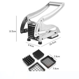 French Fry Cutter with 2 Blades Stainless Steel Potato Slicer Cutter Chopper Potato Chipper for Cucumber Carrot Kitchen Vegetable Tools
