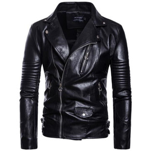Mens Leather Jackets Motorcycle Turn-down Collar Zipper Pockets Coats Male Biker Split Leather Fashion Autumn Outerwear