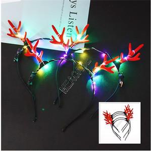 العصي LED انتلرز تضيء العصابة الجريان اللمعان للشعر حزب هالوين عيد الميلاد صالح تأثيري التي ينبعث منها ضوء عيد الميلاد الغزلان الشعر كليب D91703