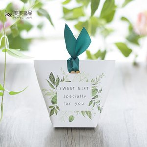 New European Green-Baum-Blätter-Süßigkeit-Kasten-Hochzeit Bevorzugungen und Geschenk-Box Papiertüten Hochzeit Dekorationen Supplies Zuckerschachteln