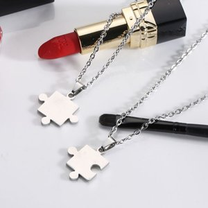 30pcs Stainless steel love couple necklace titanium steel lovers European and American puzzle unisex gift necklace jewelry