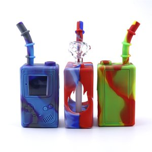 Hot glass water bongs childhood game machine 7.3 inches mini bongs with glass bowls unbreakable water bong silicone bong