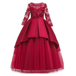 2019 Teen party Girls Wedding Dress Long sleeve Lace flower Party Tulle Princess Birthday Dress Gown for Girls 4-14 years T200908