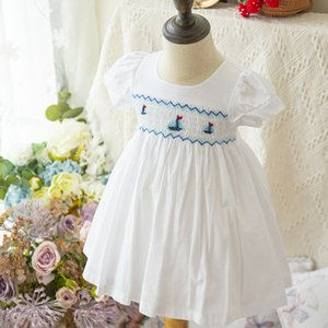 Baby Girls Smocked Dresses Childen White Embroidery Sailboat Frocks infant Smocking Handmade Dress Kids Boutiques Clothing T200908