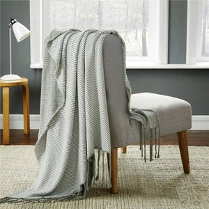 100% Cotton Soft Knitted Throw Blanket Portable Anti-pilling Autumn Winter Warm for Home sofa Bed Plane Travel Blanket 120x180cm