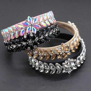 Señoras de la manera barroca baile diadema súper flash de diamantes de imitación de terciopelo dorado de ala ancha banda para la cabeza femenina 629