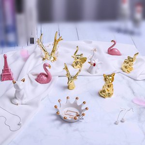 Ins mini creative ceramic crafts home living room porch desktop Nordic flamingo dog