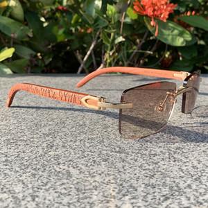 Azul Carter Craved Wood Luxo Óculos Mens Designers Sunglasses Sem Rimes para Homens Óculos De Sol Shades De Madeira Gafas de Sol de Diseñador 2020